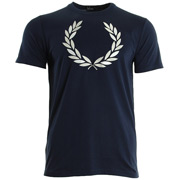 Fred Perry Textured Laurel Wreath T-Shirt Carbon Blue