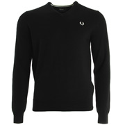 Classic Tipped V Neck Sweater Black