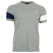 Fred Perry T Shirt Blocked Steel Marl