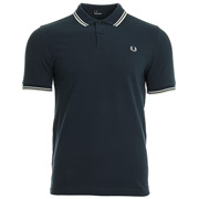 Twin Tipped Fred Perry Shirt Inky Blue Snow White