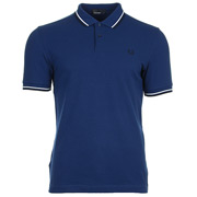 Fred Perry Twin Tipped Shirt Medieval Blue Snow White