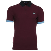 Colour Block Pique Shirt Mahogany