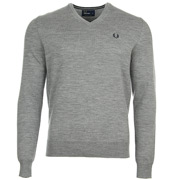 Classic Tipped V Neck Steel Marl