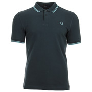 Fred Perry Twin Tipped Shirt Dark Air Force Ice Blue