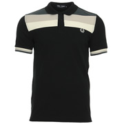 Colour Block Pique Shirt Black