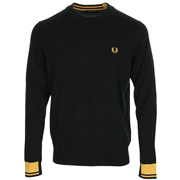 Abstract Tipped Crew Neck Jumper