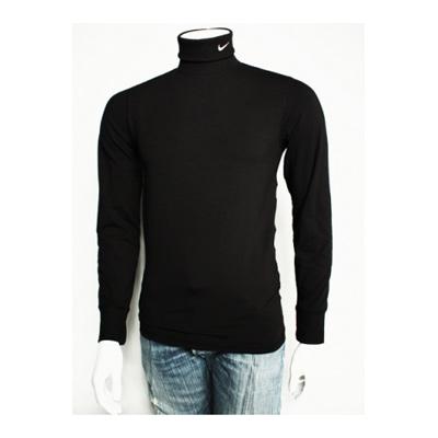nike t shirt manches longues col roule noir avec virgule brod e sur le col. Black Bedroom Furniture Sets. Home Design Ideas