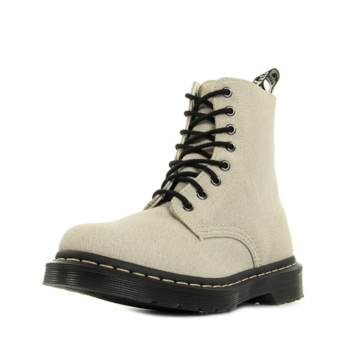 Dr. Martens Page Mix Bone Washed Canvas & Porcelain Hi Suede Wp