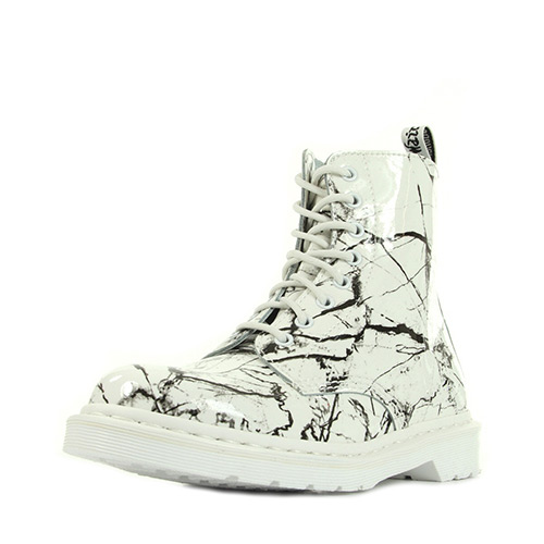 Dr. Martens Pascal White Patent Marble