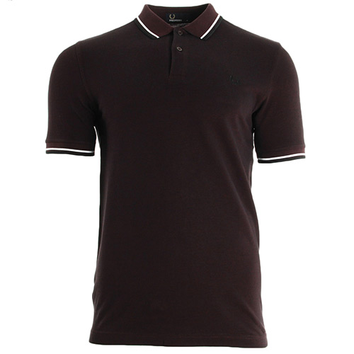 Fred Perry Slim Fit Twin Tipped Shirt Mahogany