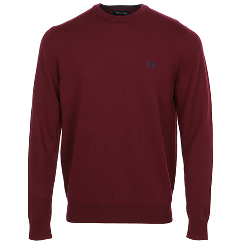 Fred Perry Classic Merino Crew Neck Jumper - Bordeaux