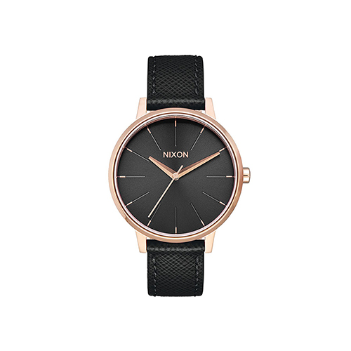 Kensington Leather Rose Gold Black