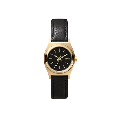 Small Time Teller Leather Black Gold