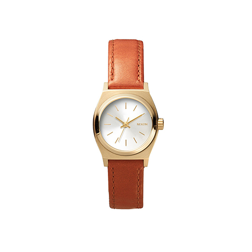 Small Time Teller Leather Light Gold Saddle