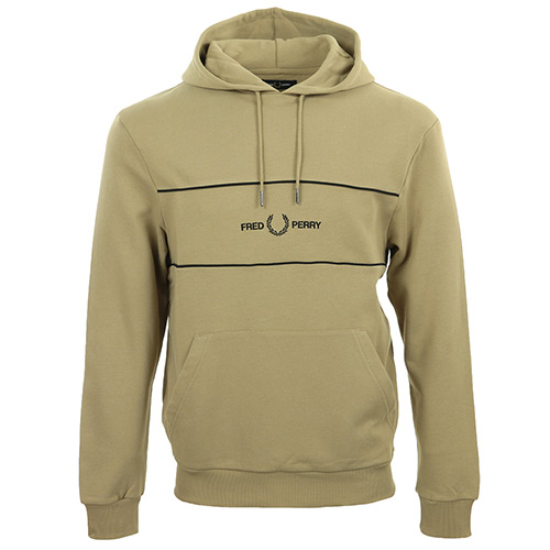 Embroidered Panel Hooded Sweatshirt