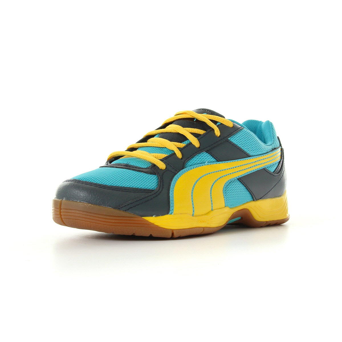 chaussures handball puma gar on vellum 3 jr taille jaune synth tique lacets ebay. Black Bedroom Furniture Sets. Home Design Ideas