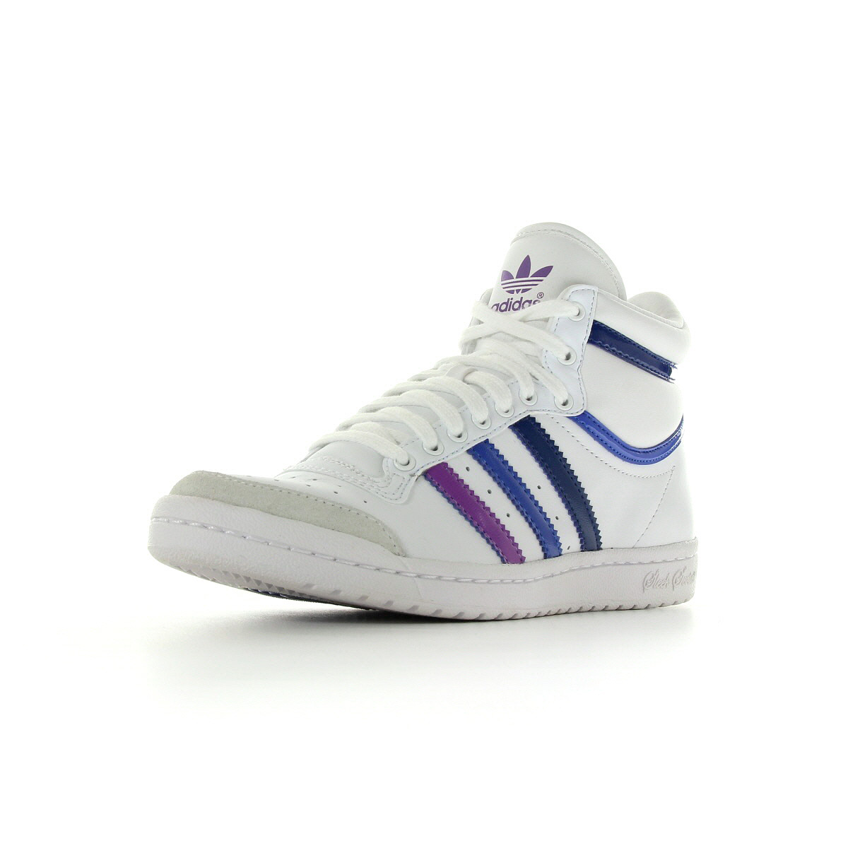 Chaussures baskets adidas femme top ten high sleek w taille blanc blanche cuir ebay for Baskets blanches femme