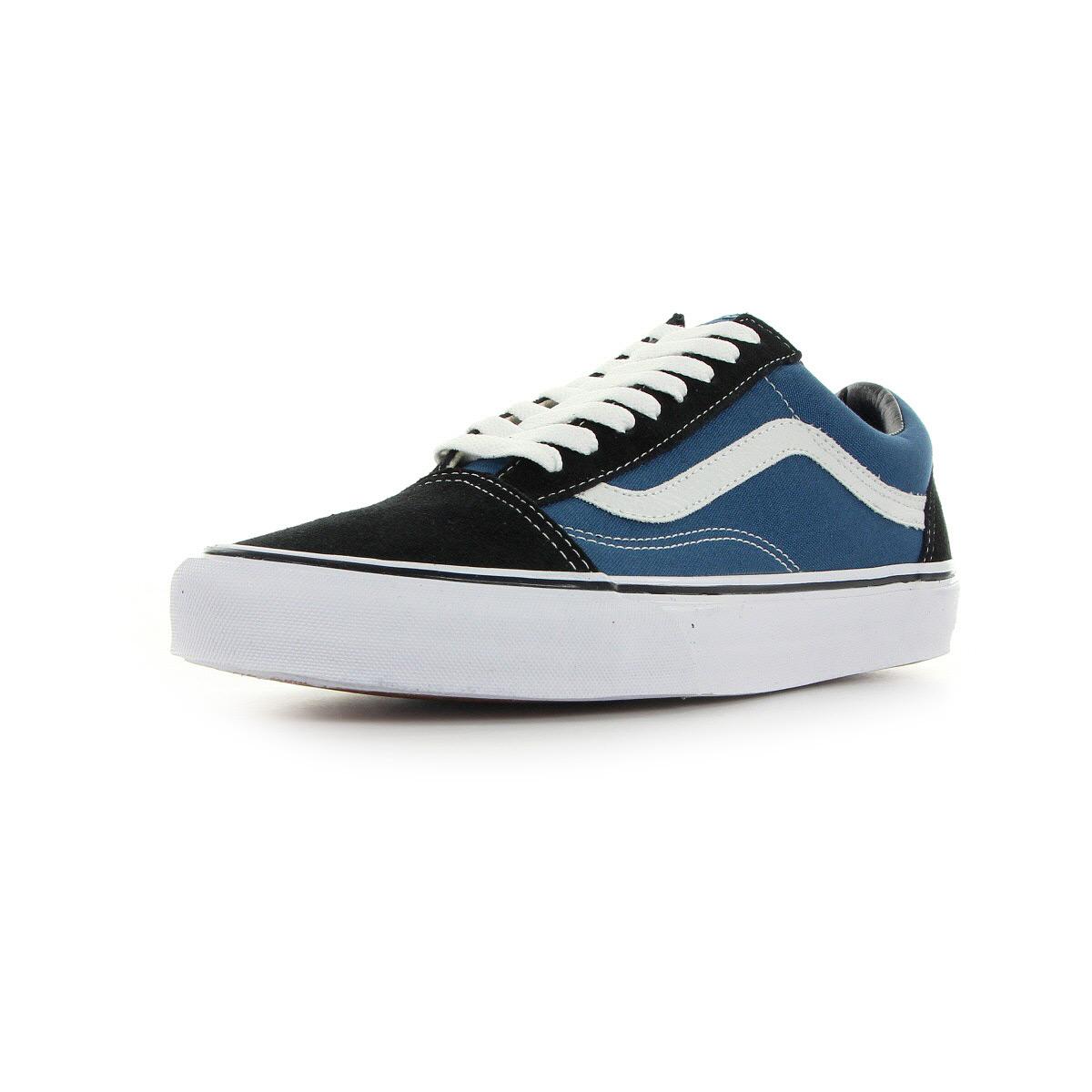 chaussures baskets vans homme old skool taille bleu marine bleue textile lacets ebay. Black Bedroom Furniture Sets. Home Design Ideas