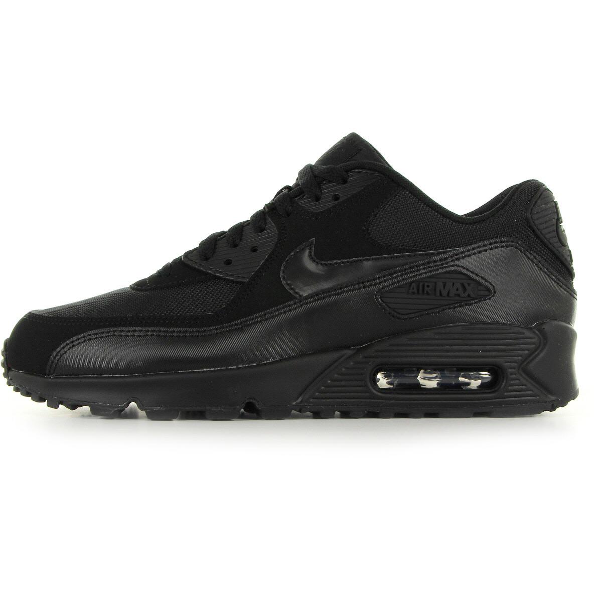 Detalles de Chaussures Baskets Nike homme Air max 90 essential taille Noir Noire Cuir Lacets