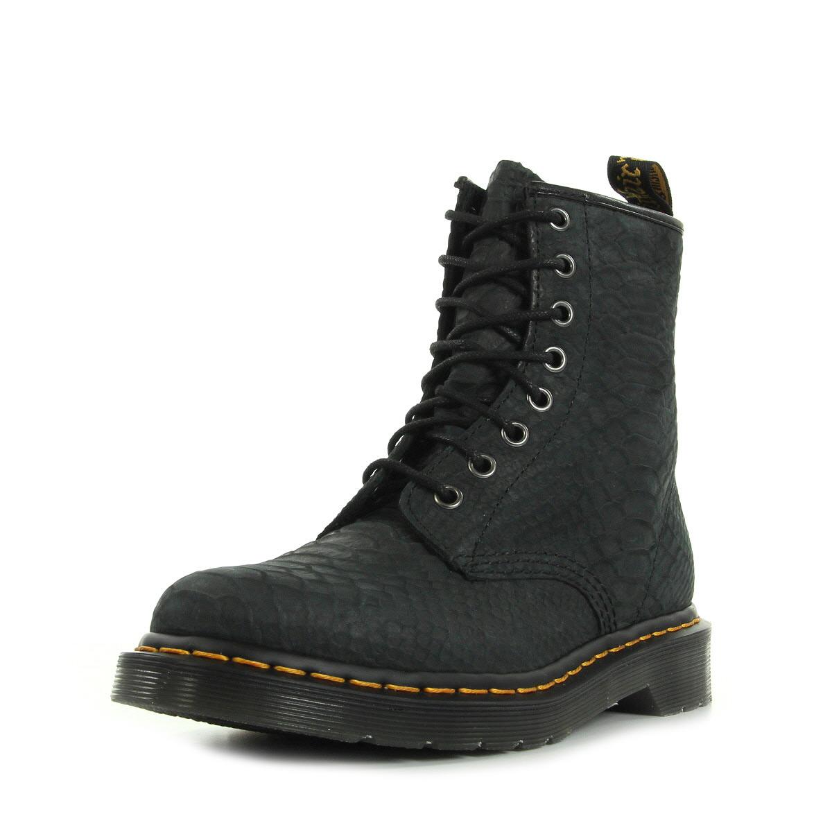 chaussures boots dr martens femme 1460 taille noir noire cuir lacets ebay. Black Bedroom Furniture Sets. Home Design Ideas