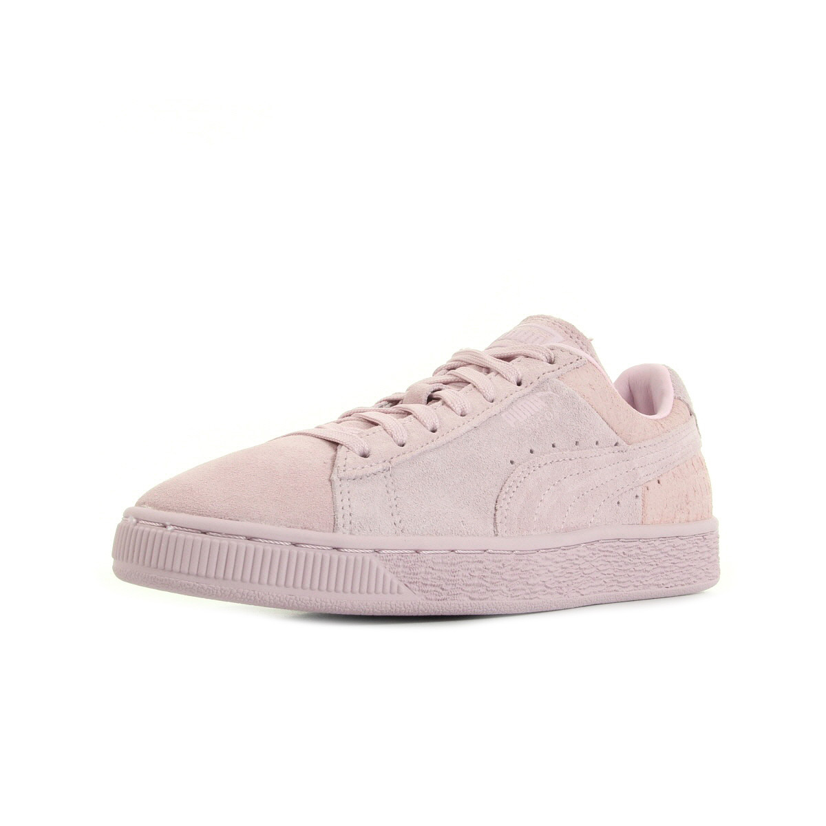 Chaussures Baskets Puma femme Suede Classic Casual Emboss taille Rose Cuir