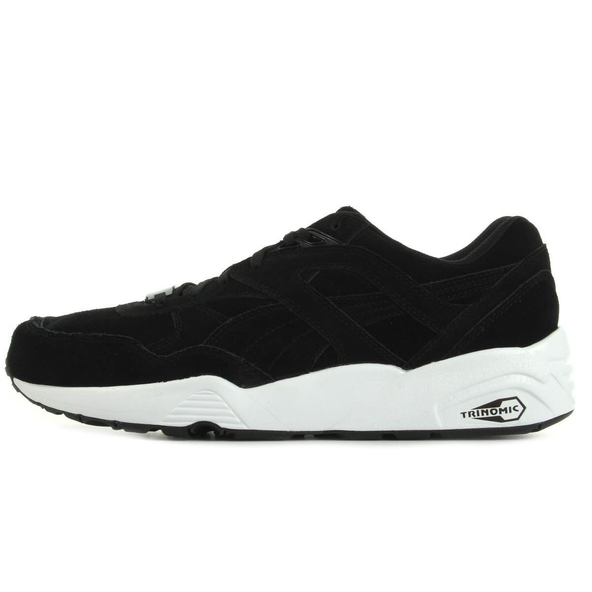 chaussures baskets puma homme r698 allover suede taille noir noire cuir lacets ebay. Black Bedroom Furniture Sets. Home Design Ideas