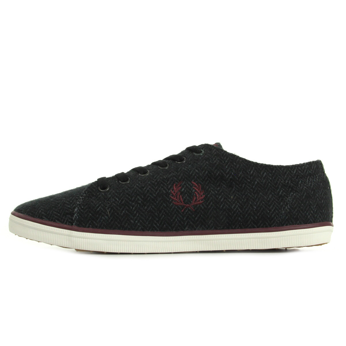 Fred Perry Kingston Tweed Charcoal B9095491, Baskets mode homme