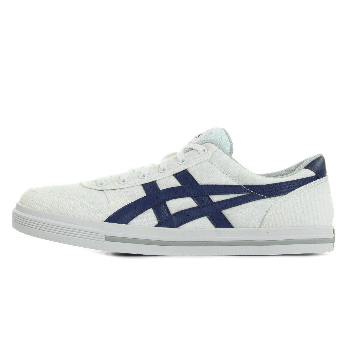 Détails sur Chaussures Baskets Asics homme Aaron White Blue taille Blanc Blanche Textile