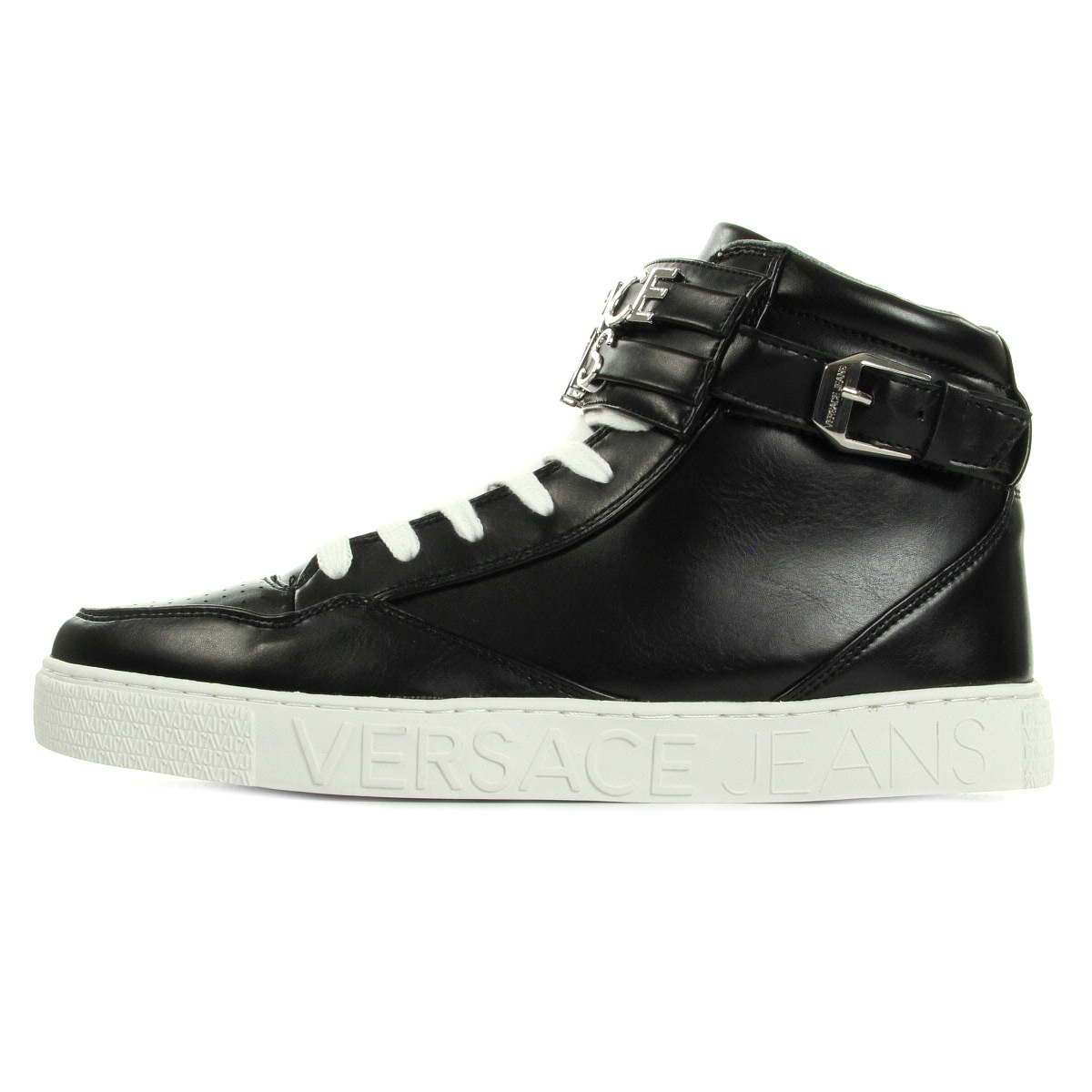 schuhe versace jeans herren sneaker uomo dise5 lettering coating schwarz. Black Bedroom Furniture Sets. Home Design Ideas