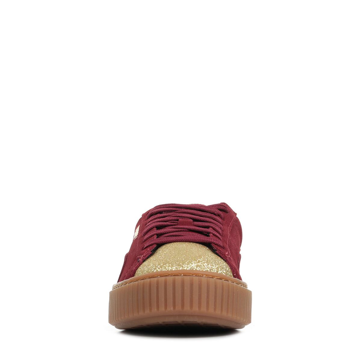 Détails sur Chaussures Baskets Puma femme Suede Platform Glam Jr taille Doré Cuir Lacets