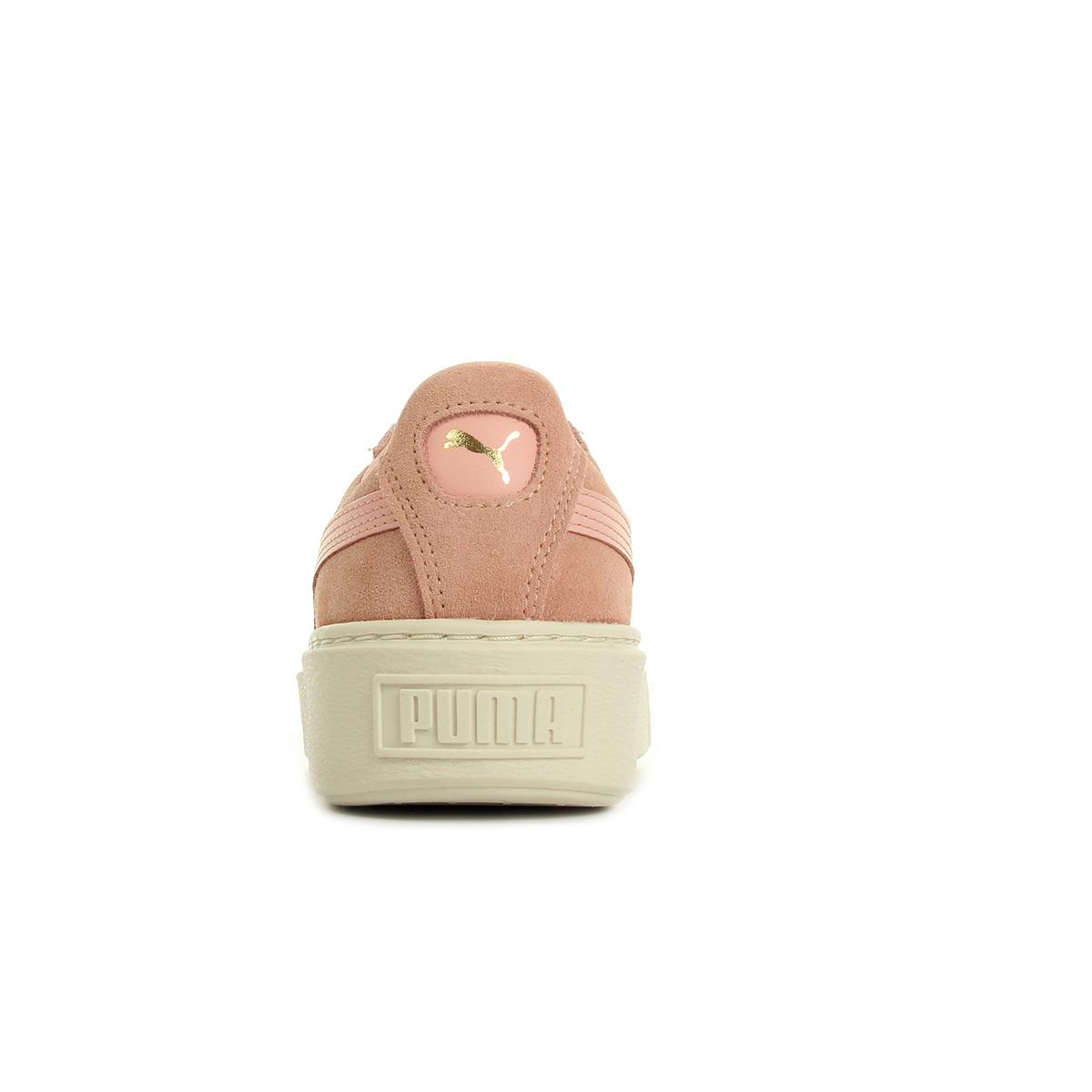 Details over Chaussures Baskets Puma femme Suede Platform Core taille Rose Cuir Lacets