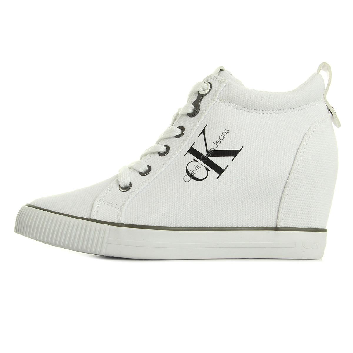 Calvin Klein Ritzy Canvas White R3551WHITE, Baskets mode femme