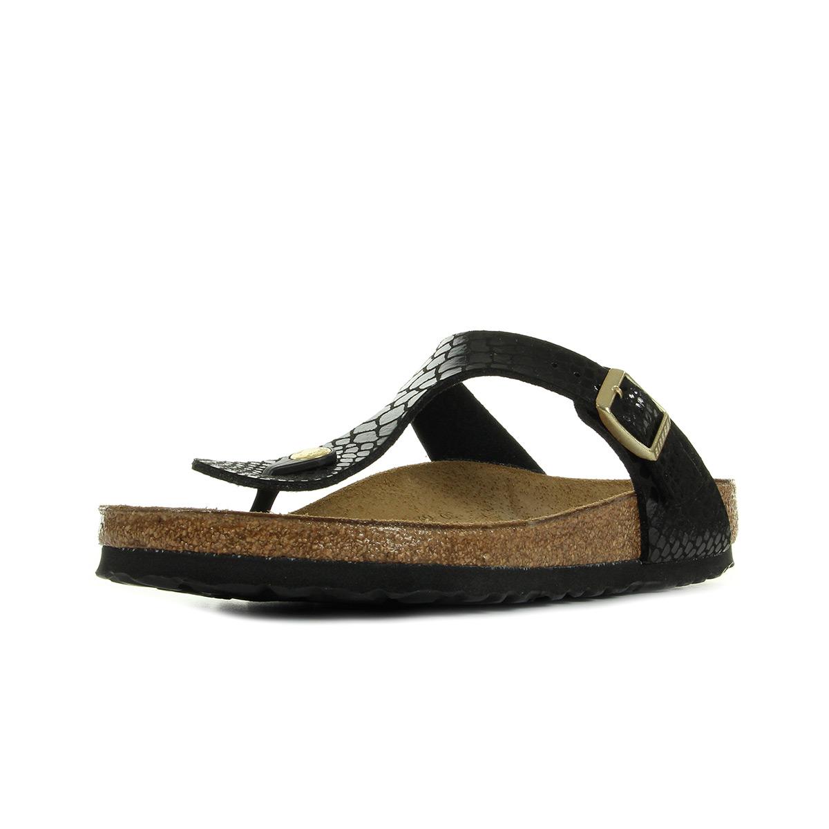 birkenstock gizeh bs shiny snake black 1004274 chaussures. Black Bedroom Furniture Sets. Home Design Ideas