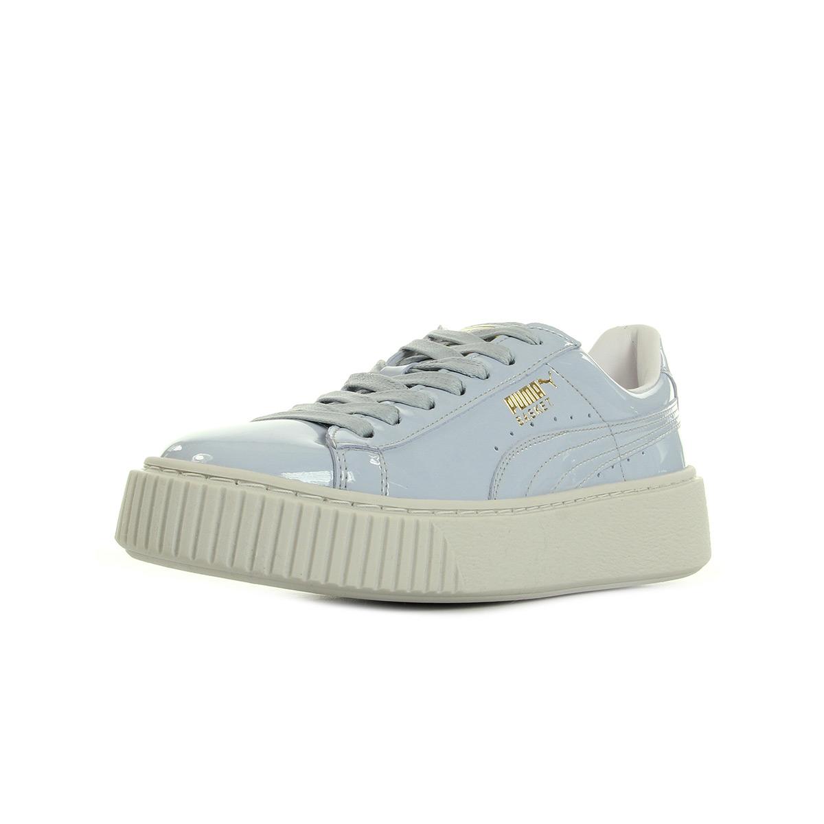 Details zu Schuhe Puma Damen Basket Platform Patent Wns blau