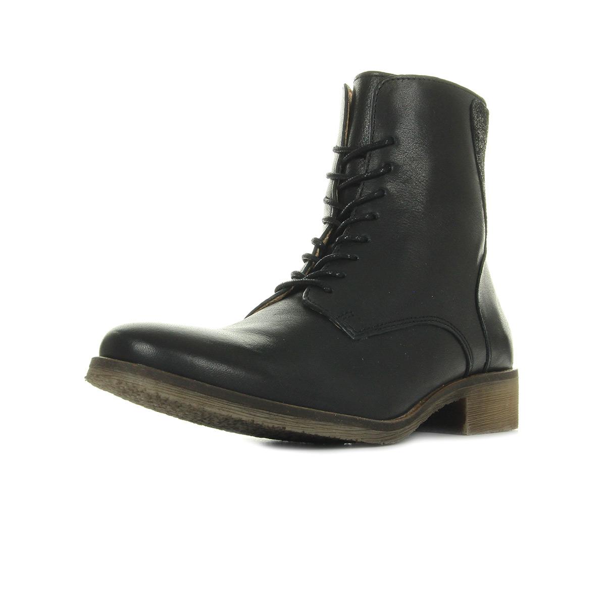 Kickers Lifebis Cuir Natur Noir noir - Chaussures Bottine Femme