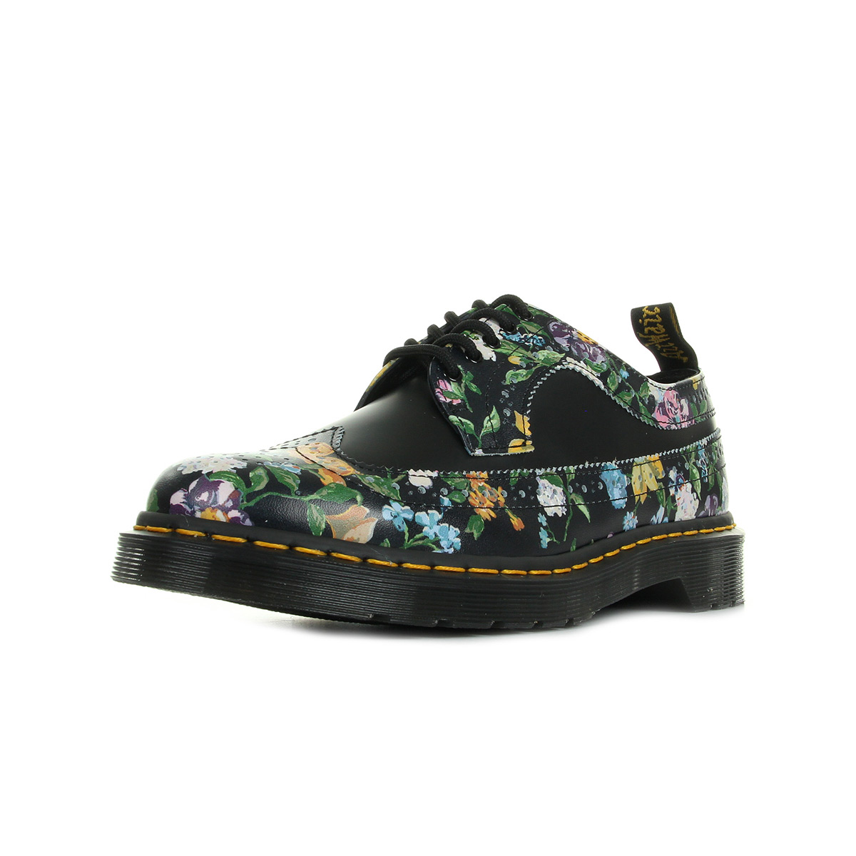 dr martens wingtip shoe black darcy floral 22729001 ville femme. Black Bedroom Furniture Sets. Home Design Ideas