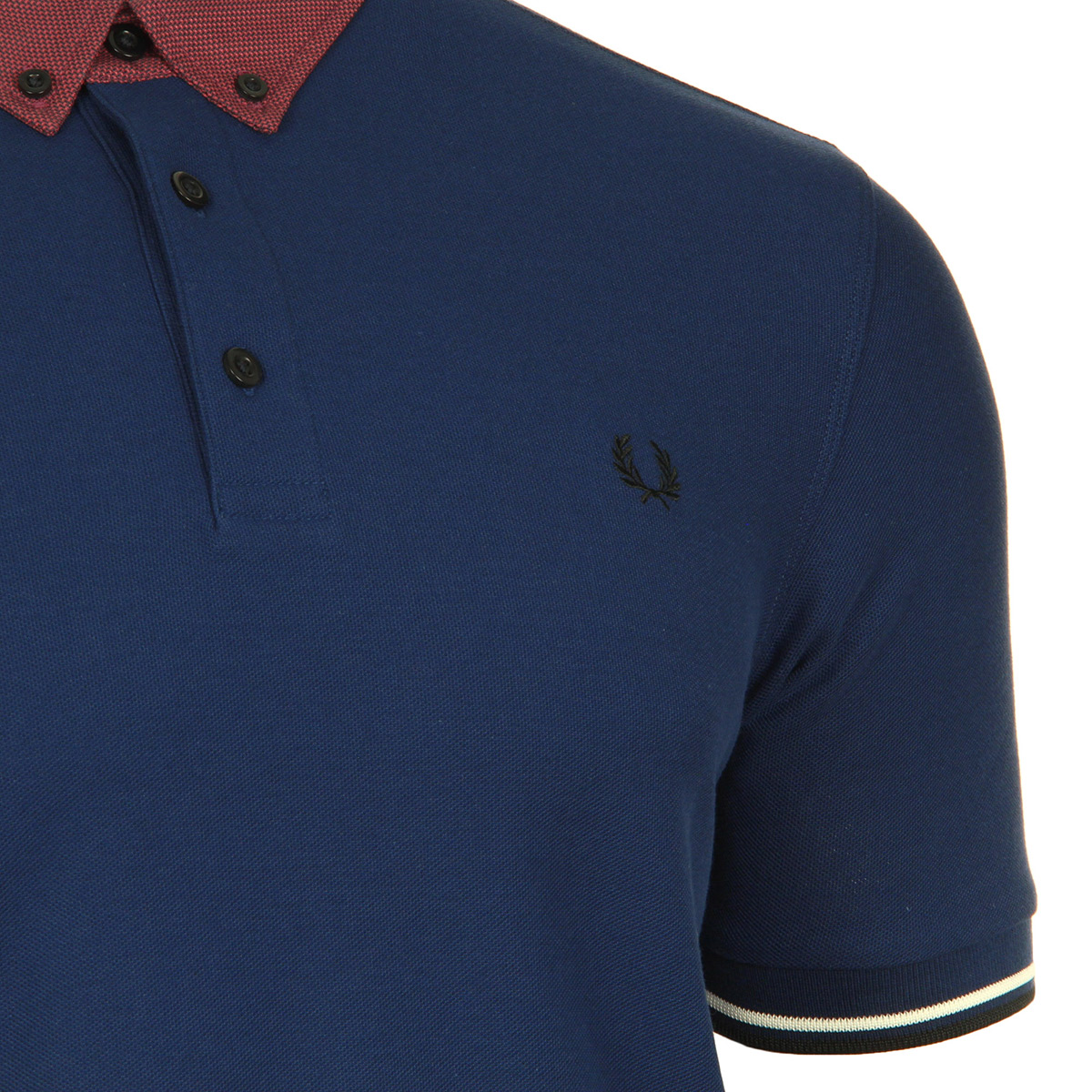 Fred Perry Woven Collar Pique Shirt French Navy M2576143, Polos homme