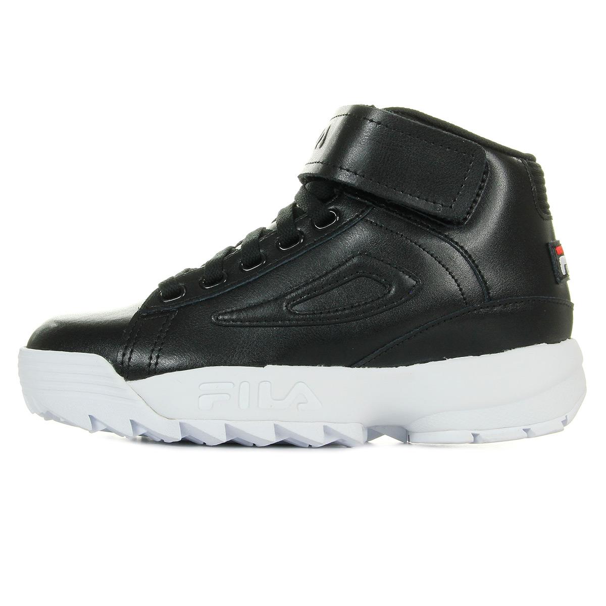 chaussures baskets fila femme disruptor mid wmn black taille noir noire cuir ebay. Black Bedroom Furniture Sets. Home Design Ideas
