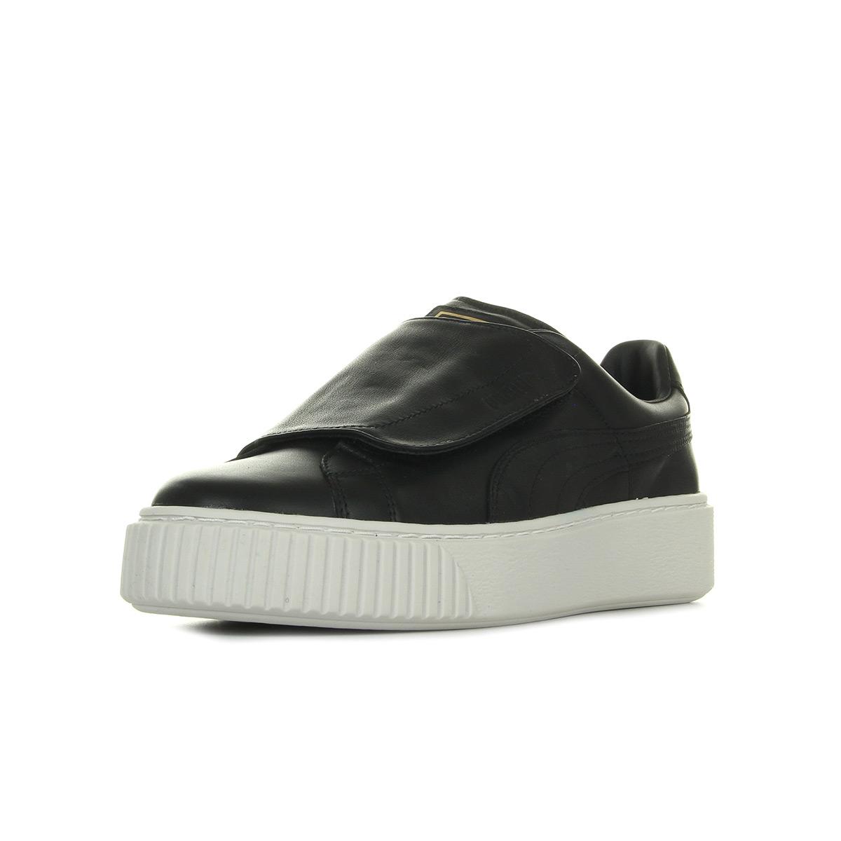 Chaussures Baskets Puma femme Platform Strap taille Noir Noire Cuir Scratchs
