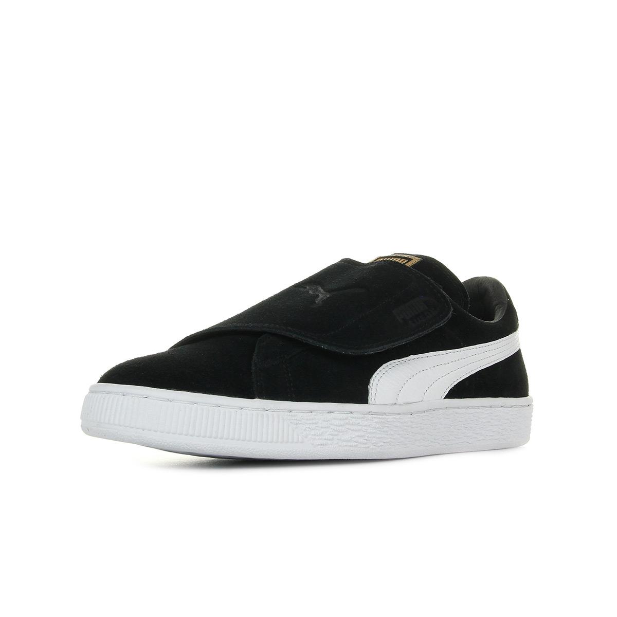 Chaussures Baskets Puma unisexe Suede Wrap taille Noir Noire Cuir Scratchs