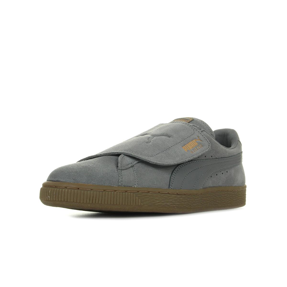 Chaussures Baskets Puma unisexe Suede Wrap Gum Burn taille Gris Grise Cuir