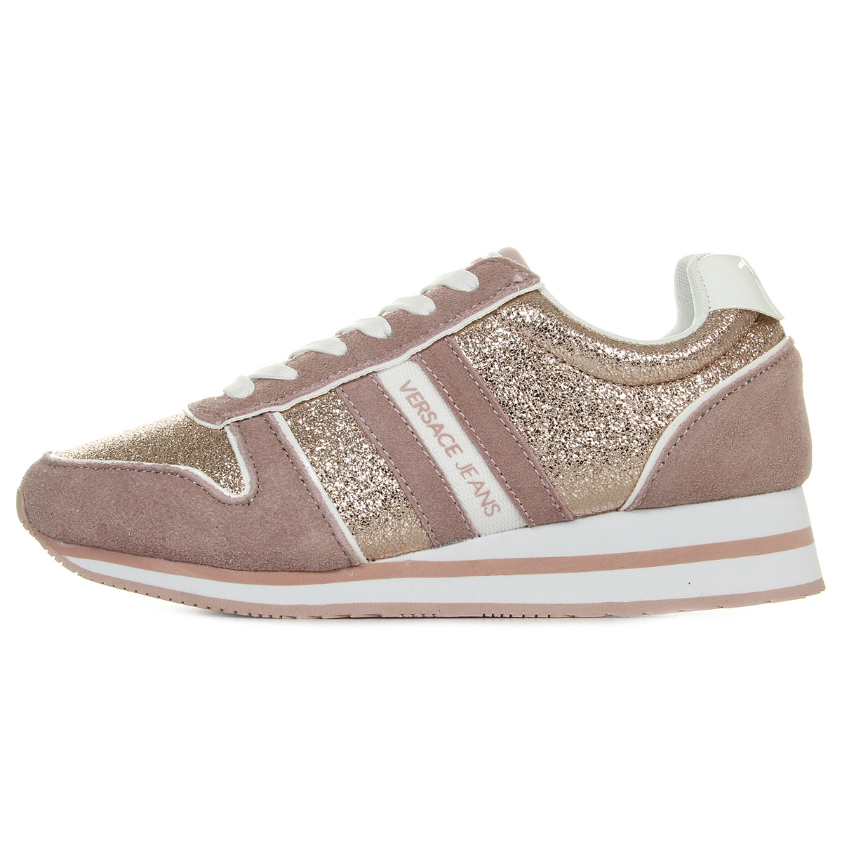 Versace Jeans Linea Fondo Stella Dis1 Suede Coated Shiny Textile E0VRBSA170027521, Baskets mode femme