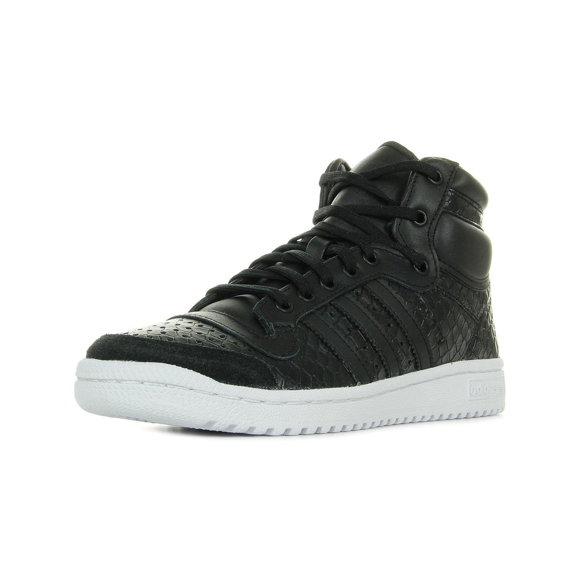 site réputé c033d e60d2 Details about Chaussures Baskets adidas femme Top Ten Hi W taille Noir  Noire Cuir Lacets