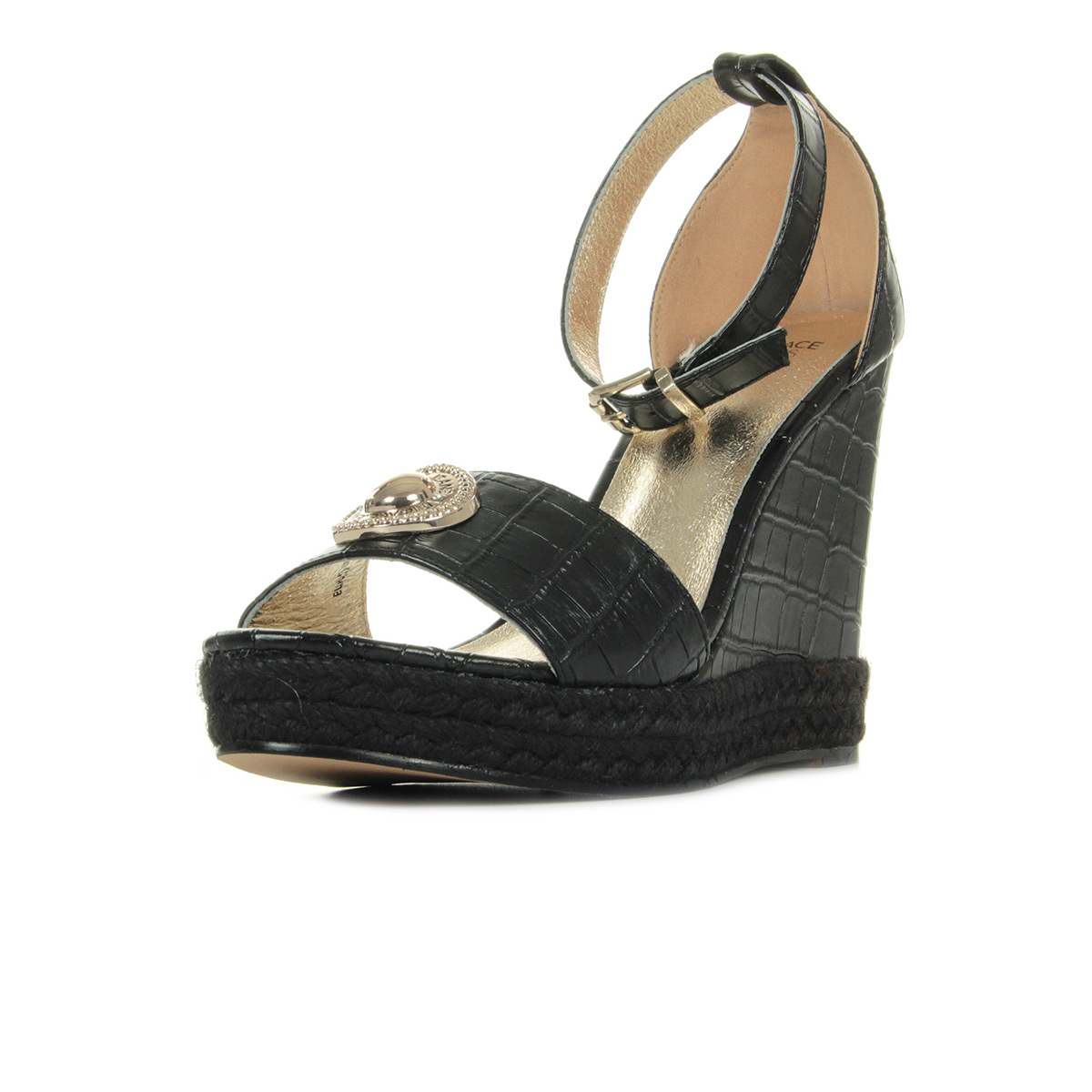 Sandales Nu Pieds Versace Jeans femme Linea High Rope Wedge Dis4 taille Noir