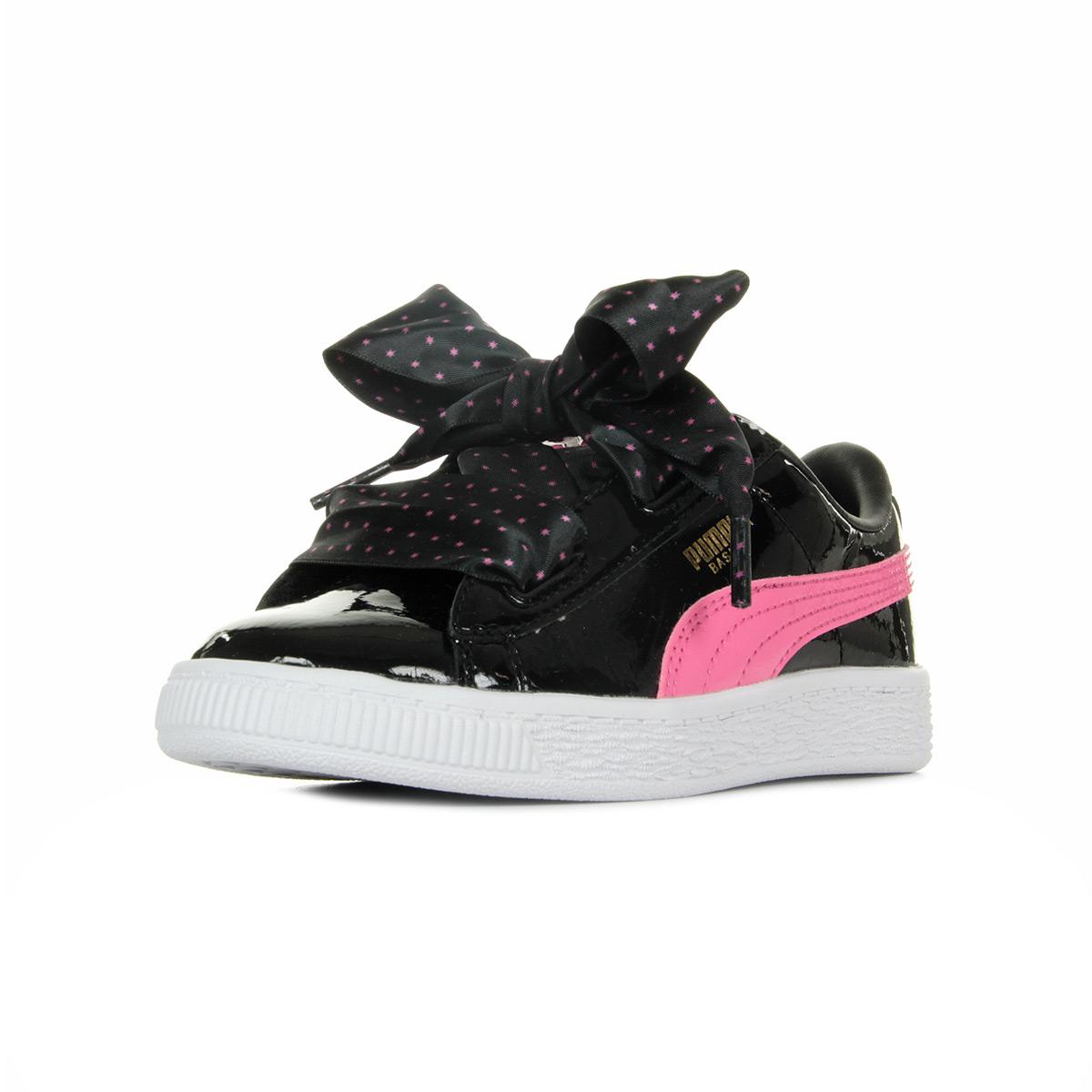 594252553faac Chaussures Baskets Puma fille Basket Heart Stars Ps taille Noir ...