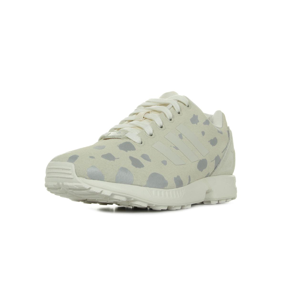 meet e9579 facd4 Chaussures Baskets adidas femme Zx Flux taille Beige Cuir Lacets