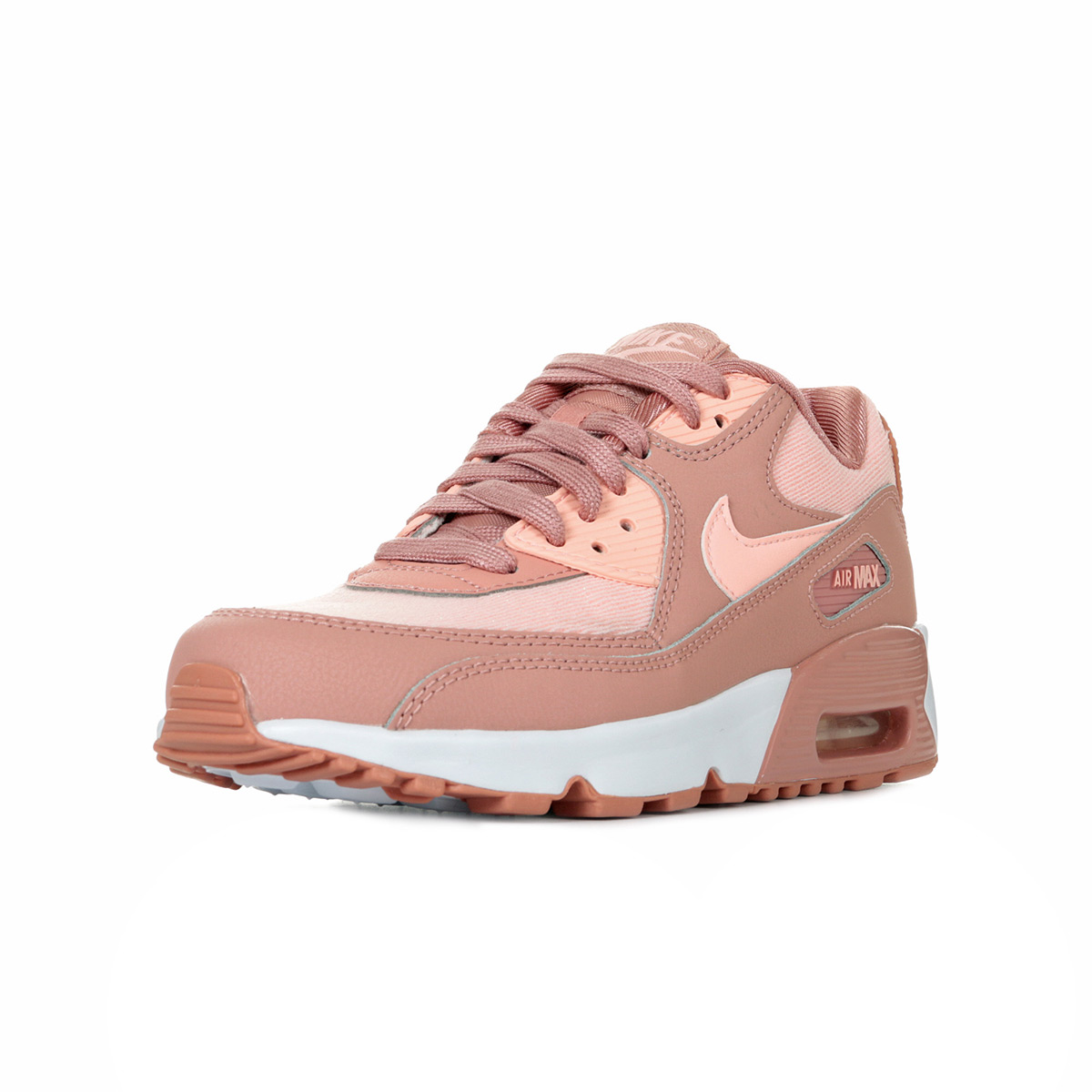 Chaussures Baskets Nike femme Air Max 90 Mesh SE (GS) taille Rose Cuir Lacets