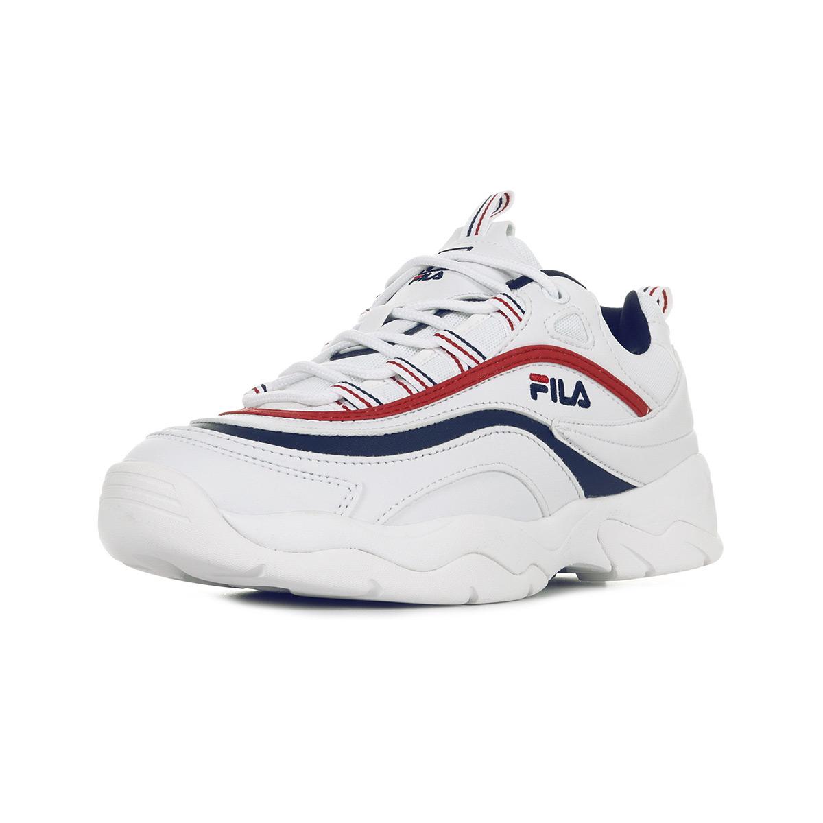 Détails sur Chaussures Baskets Fila homme Ray Low taille Blanc Blanche Cuir Lacets