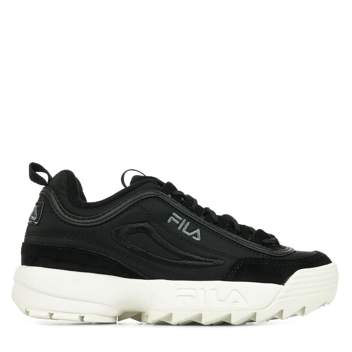 Détails sur Chaussures Baskets Fila femme Disruptor Satin Low Wn's taille Noir Noire