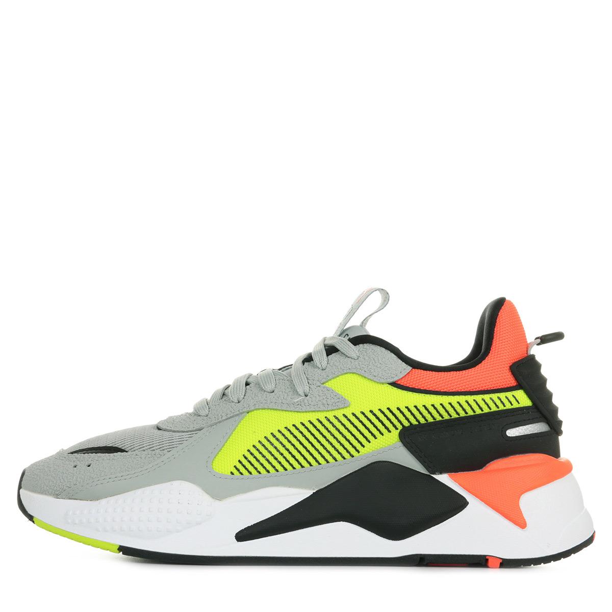 Détails sur Chaussures Baskets Puma homme RS X Hard Drive taille Gris Grise Textile Lacets